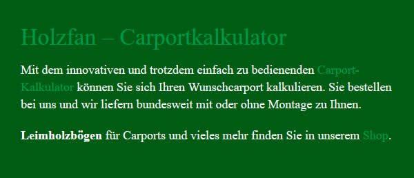 Carport Rechner in 17509 Hanshagen